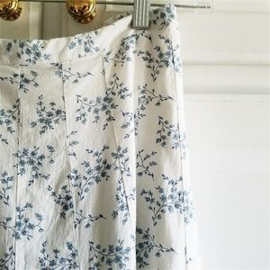 Gap White Blue Dainty Floral A-line Maxi Skirt